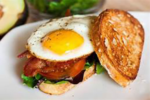 Egg breakfast sandwich on toast